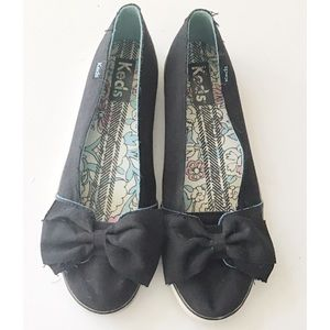 🌈3/25$ Keds Black Canvas Bow Top Flats Si…